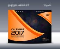 Orange Desk Calendar for 2017 Year, Cover Desk Calendar template Royalty Free Stock Image