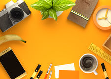 Orange Desktop Work Space Layout Royalty Free Stock Image