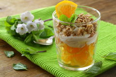 Orange dessert with cream and biscuits Royalty Free Stock Photo