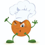 Orange-dessin-caractère-dans-chef-chapeau Images stock