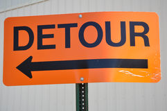 Orange Detour Sign Royalty Free Stock Photos