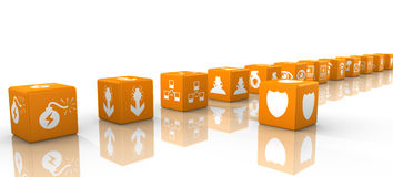 Orange dice in a row cybersecurity concept Stock Image