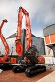 Orange diesel excavator Stock Photography