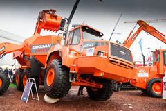 Orange diesel front end loader Royalty Free Stock Photo