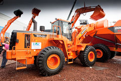 Orange diesel front end loader Royalty Free Stock Images