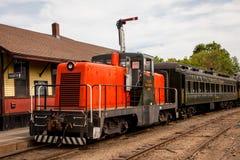 Orange diesel train locomotive. ESSEX - MAY 24: Connecticut Valley Railroad orange diesel Train Locomotive  in Essex,  Connecticut , USA on May 24, 2015 Stock Photos