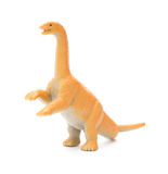 Orange diplodocus toy on white background. Orange diplodocus toy on a white background Stock Photo