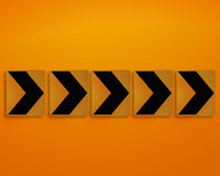 Orange direction sign Stock Photography