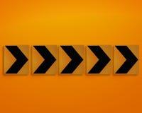 Orange direction sign Stock Photography