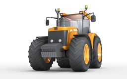 Wheel agricultural tracktor isolated on white background. Front. Orange dirty wheel harvesting tracktor isolated on white background. Front side view Stock Images