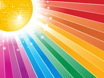 Orange disco ball and rainbow starburst Royalty Free Stock Image
