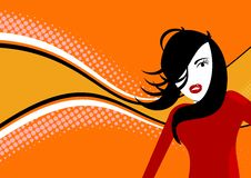 Orange disco girl. Disco girl with orange retro background stock illustration