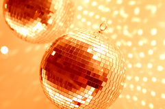 Orange disco globes Royalty Free Stock Image