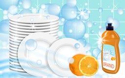 Orange Dishwashing liquid products with plates stack. Bottle label design. Dish wash advertisement poster layout. Vector. Illustration Stock Photos