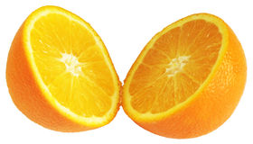 Orange divided in half Royalty Free Stock Photo