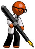 Orange Doctor Scientist Man drawing or writing with large calligraphy pen vector illustration