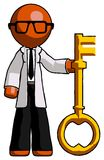 Orange Doctor Scientist Man holding key made of gold. Toon Rendered 3d Illustration Royalty Free Stock Photos
