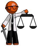 Orange Doctor Scientist Man justice concept with scales and swor. D, justicia derived - Toon Rendered 3d Illustration Royalty Free Stock Photos