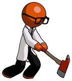 Orange Doctor Scientist Man striking with a red firefighter`s ax. Toon Rendered 3d Illustration Stock Photo