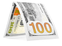 Orange dollar folded in half, money hut, currency angle isolated Stock Photos