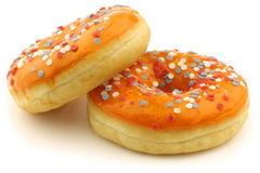Orange donuts with red,white and blue sprinkles Stock Photo