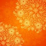 Orange doodle flowers ornate background Stock Photography