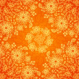 Orange doodle flowers ornate seamless pattern Royalty Free Stock Photos