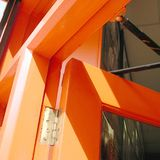 Orange door details. London, United Kingdom - January 10, 2002: Orange door in London Stock Image