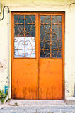 Orange door stock photo