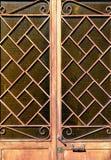 Orange door. Orange metal and glass door Stock Photo