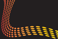 Orange Dots Layout. A layout with curved dots over a black background Royalty Free Stock Photography