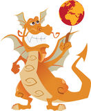 Orange dragon. Smiling and turns the globe on his finger Stock Photography