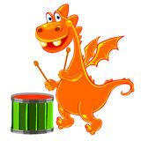 Orange dragon with a drum Stock Photography