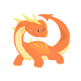 Orange dragon, mythical and fantastic animal vector Illustration Royalty Free Stock Photos