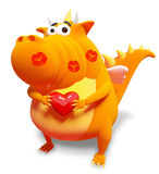 Orange dragon with red heart and kisses. Isolated on white Stock Photography