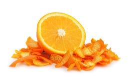 Orange dried peel. Isolated on white background Royalty Free Stock Photography