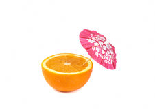 Orange with drink cocktail umbrella Stock Photography