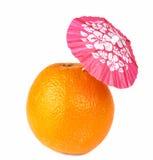 Orange with drink cocktail umbrella Royalty Free Stock Photo