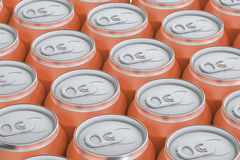 Orange drink metallic cans, top view Royalty Free Stock Image