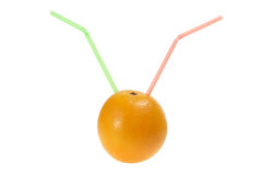 Orange with Drinking Straws Stock Photo