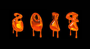 2014 orange dripping numbers. Halloween style Royalty Free Stock Photo