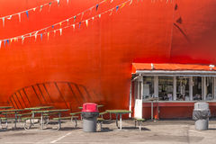 Orange drive-in. Hamburger restaurant on a summer day Royalty Free Stock Image