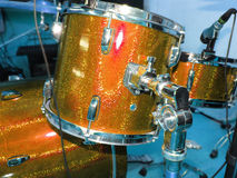 Orange drum set for rehearsal Royalty Free Stock Image