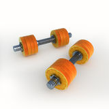 Orange_dumbbells Photographie stock libre de droits