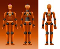 Free Orange Dummy For Crash Test With Pink Brains & Smile, Mechanical Mannequin, Artificial Intelligence Concept Stock Photography - 202029412