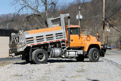 Orange Dump Truck. An Orange Dump Truck with bed at Angle Stock Photography