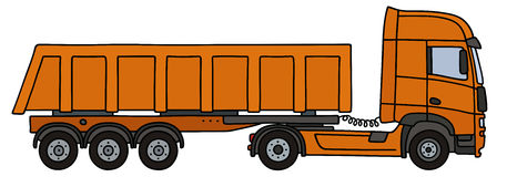 Orange dumper semitrailer. Hand drawing of an orange towing truck vith the tipper semitrailer Stock Photography