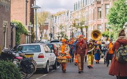 Orange Dutch Band During King`s Day Festivity, Street Festival Royalty Free Stock Image