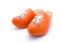 Orange Dutch wooden shoes Royalty Free Stock Photography