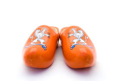 Orange Dutch wooden shoes Royalty Free Stock Photos